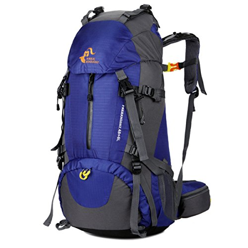 Große Kapazität Im Freien Rucksack Klettern Schulter Tasche 50L Mit Regen Abdeckung Blue