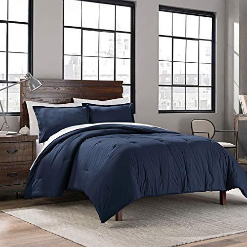 Unbekannt Garment Washed Solid Full/Queen Comforter Set inkl. Tröster Standard Kissenbezüge Full/Queen Navy