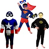 Combo Offer Superman + Captain America + Batman Costume Fancy Dress | Fancy Dress Costume Costume | Cosplay Carnival Costumes For Children | Fancy Dress Competition | B'day Party | Birthday Gift | B'day Gift | Baby Show | Halloween Costume | Kindergarden