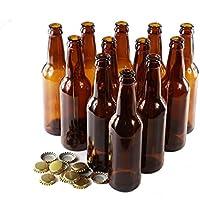Lot de 12bouteilles de verre brun - capsules dorées, Verre, 330ml