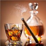 Poster 30 x 30 cm: Zigarre auf Glas Whiskey mit Eiswürfeln von Editors Choice - hochwertiger Kunstdruck, Kunstposter