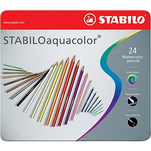 stabilo-1624-5-matite-colorate-aquacolor-scatola-in-metallo-28-mm-confezione-da-24