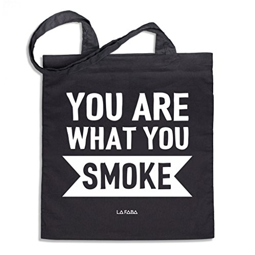 LA FABA 'You Are What You Smoke Serie, Sac en jute, imprimé sac en coton Jutebeutel, Jutebeutel Noir, Sac Cabas, Stoffbeutel, Jutebeutel avec inscription en allemand, Jutebeutel longue anse, fum