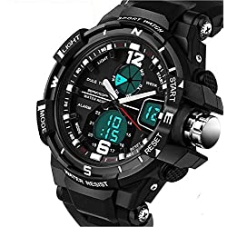 QBD Digital-analog Boys Girls Sport Digital Watch with Alarm Stopwatch Chronograph - 50m Water Proof - FREE luxury gift box ( G Black)