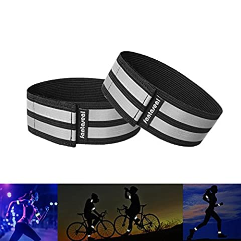Fantaseal® Hi Reflective Running Band High Visibility Elastic Wearable Belt Armbands Wristband Sweatband Wrist Wrap Safety Strap Brace Reflective Fabric Tape Safety Sports Belt for Women /Teenagers Walking Jogging Running Cycling Outdoor Activity Sports Reflective Gear- 2 pack ( 25 cm / Black