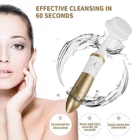 Facial Cleansing Brush,KINGDOMCARES Electric Waterproof Facial Brush 2-in-1 Sonic Skin Cleansing System Face body Cleansers Exfoliators and Makeup Remover Facial Microdermabrasion Appliances Set with 3-Head Kit Golden