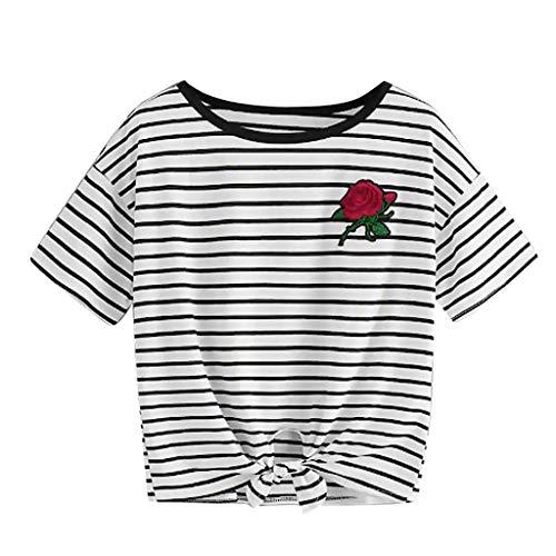 Trendige Kinder T-shirts (SHOBDW Stilvoll Damen Casual T-Shirt O-Neck kurzärmliges T-Shirt Frauen Sommer Mode Elegant Rose Stickerei-Applikation Kurz Shirts Pullover Junge Dame Lässig Trendigen College Stil Tops Bluse)