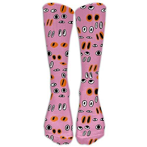 ouyjian Jeffostie Eyes Pink Unisex Lange Socken Crew Athletic Kniestrümpfe -
