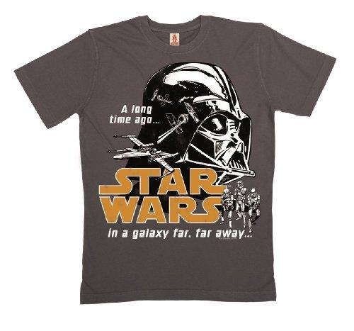 LOGOSHIRT - Darth Vader T-Shirt Bio Baumwolle - Star Wars - Krieg der Sterne - In A Galaxy - dunkellila - Lizenziertes Originaldesign, Größe M (Darth Vader Kostüme Authentisch)