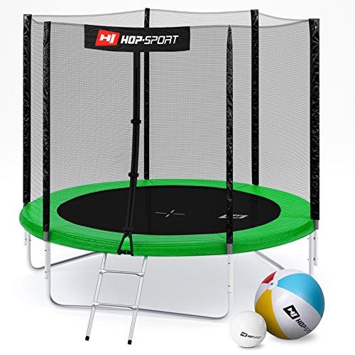 Hop-Sport Gartentrampolin 244, 305, 366, 430, 490 cm Komplettset inkl. Außennetz Leiter Wetterplane Erdanker Grün (244 cm)