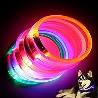 quanjucheer Collar LED recargable para perro, luz nocturna intermitente con carga USB para mascotas