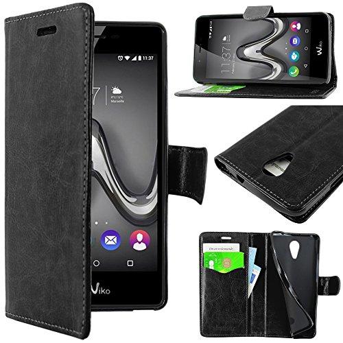Ebeststar - cover wiko tommy custodia portafoglio pelle pu protezione libro flip, nero [apparecchio: 146 x 71.5 x 8.8mm, 5.0'']