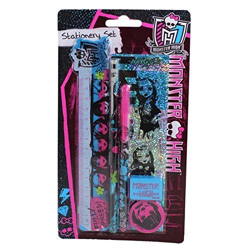 Anker Monster High Schreibwaren-Set mit Bleistiften, Spitzer, Radiergummi, Lineal, perfekt für die Schule (Aufkleber Monster High)