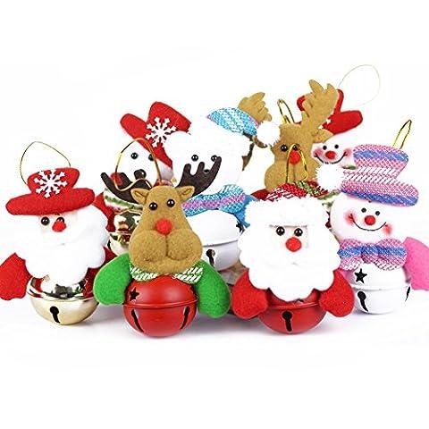 Weihnachtsbaum Dekoration 5 Stücke Weihnachtsschmuck Verzierung Weihnachtsmann Schelle Geschenk Glocke