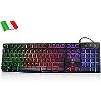 Rii Gaming RK100+ (Layout Italiano) - Tastiera Italiana da Gioco retroilluminata a LED (Arcobaleno) con Tasti multimediali, paragonabile a Una Tastiera Meccanica