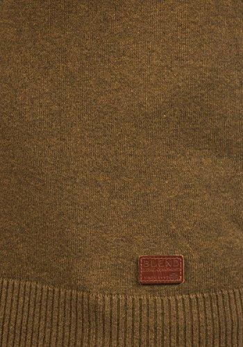 BLEND Leonardo Herren Strickpullover Feinstrick Pulli mit Grandad-Kragen aus hochwertiger Baumwollmischung Dark Mustard (75116)