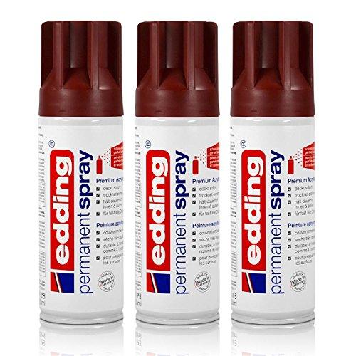 3x edding Permanent Spray purpurrot 200 ml Premium Acryllack, RAL 3004