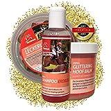 EMMA - Set per la cura dei cavalli, 3 pezzi, lecca-lecca carota e erbe aromatiche, shampoo per cavalli in rosa con profumo di fragola, spray per mosche e criniera in rosa, per torneo, Show & Pony Liga
