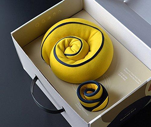 Reisekissen, U-Form Nackenkissen mit Tragetasche, waschbar, verstellbare Schnalle/könnte Befestigen des Gepäck und Rolle in a PU Aufbewahrungstasche (26* 26* 12cm) gelb (Gesicht Homedics)
