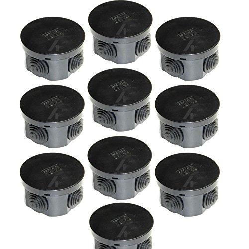 Abzweigdose, rund, 65 x 35 mm, IP44, spritzwassergeschützt, mit Gummidichtungen und Schnappdeckel, Schwarz, 10 Stück