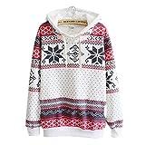 JUTOO Frauen Weihnachten Jumper Pullover mit Kapuze Pullover Top(Weiß,EU:40/CN:M)