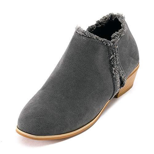 Stiefeletten Damen mit Blockabsatz, Damen Schuhe Elegante Einfarbig Einfach Runde Kappe Scrub British Stil Freizeit Klassische Kurze Ankle Boots Riou 2019 Neu