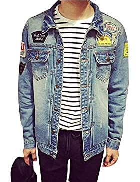 Chaqueta Vaquera para Hombre Clásico Botton Down Denim Jacket Mangas Largas Outwears