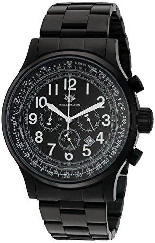 Wellington Hombre Reloj de cuarzo con cronógrafo y negro pulsera de acero inoxidable WN302–622
