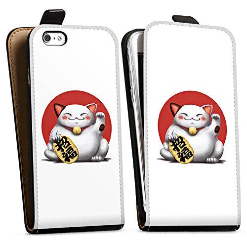 Apple iPhone X Silikon Hülle Case Schutzhülle Kawaii Katze Japan Downflip Tasche schwarz