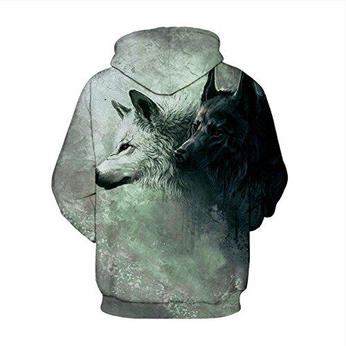 Herren Digitaldruck Kapuzenpullover Tops Fashion Hoodie Pullover Hooded Sweatshirt Wolf A