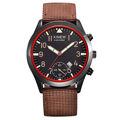 IG-Invictus Mens Military Quartz Army Watch Schwarz Datum Luxus Sport Leuchtende Armbanduhr XINEW Leinwand Kalender Uhr 2326 Braun