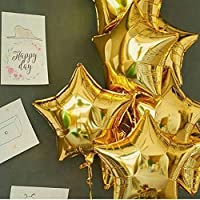 Party Propz 18 inch Air-Filled Foil Balloons for Birthday | Anniversary | Wedding Party Decoration Pack of 5 (Golden)