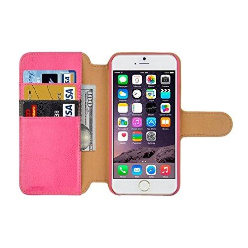 Pour iPhone 6 / 6S, Crazy Horse Texture Contraste Couleur PU Coutures en cuir avec porte-cartes et embouts de cartes JING ( Color : Magenta ) Magenta