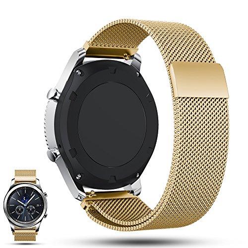 Ifeeker Aimant Lock Milanaise Boucle Bracelet en acier inoxydable Bracelet Watch Band pour Samsung Gear S3Frontier/Gear S3classique, doré