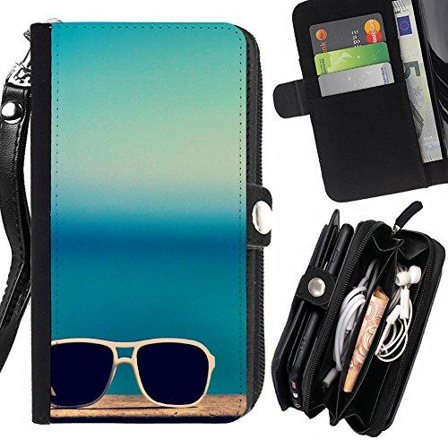 FJCases Sommer Strand Sonnenbrille Handschlaufe und Reißverschluss Hülle Schutzhülle für Samsung Galaxy J3 Emerge/Galaxy J3 Prime/Galaxy J3 Eclipse