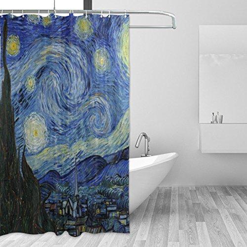 jstel Van Gogh Starry Night Sky Duschvorhang Schimmelresistent und Polyester-Wasserdicht-182,9x 182,9cm für Home Extra Lang Badezimmer Deko Dusche Bad Vorhänge Liner mit 12Haken