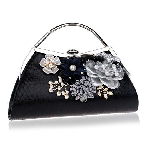utch Bag Polyester Plissee Blume Vorne Abendtasche Clutch Handtasche Dekor Prom Hochzeit (Color : Black) ()