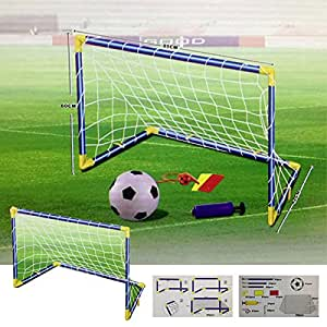 Denny International® Kids/Children Football Goal Post Net Ball With Pump Whistle Toy Indoor/Outdoor Soccer (611 Twin)