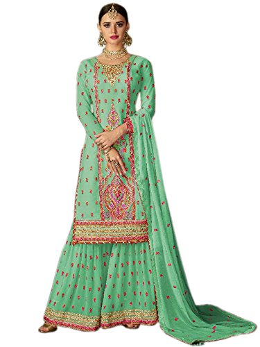 Shoppingover Designer Georgette Fabric embroidery hand work Kameez with free Size Plazo...