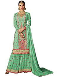 Shoppingover Women's Georgette Embroidery Kameez with Palazzo(2004BDP_Green_Free Size)