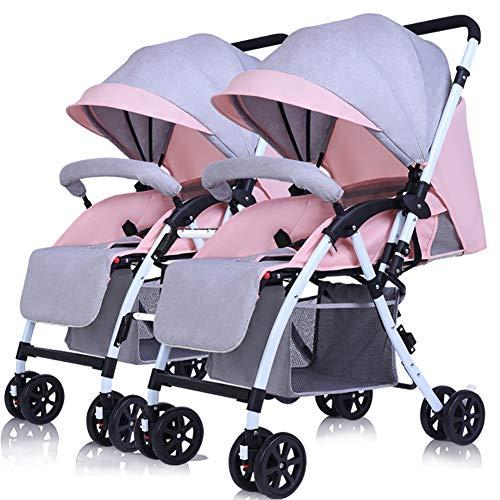 Passeggini jcoco gemellare staccabile può sedersi e sdraiarsi leggero e pieghevole maniglia per il trasporto del doppio trolley reversibile (colore : linen pink)