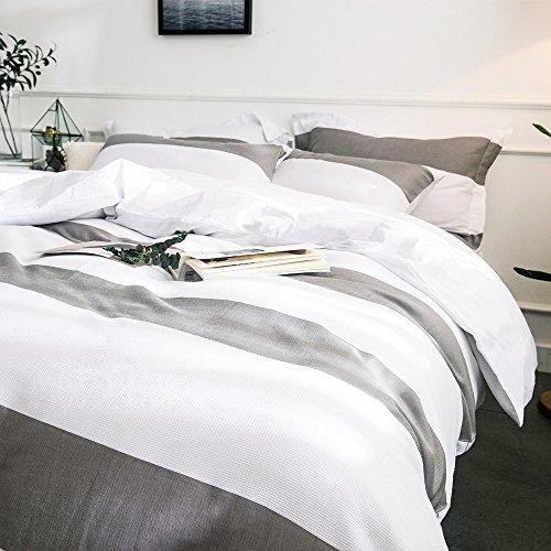 Bettwäsche: Merryfeel Bettwäsche-Set 2-3 teilige, 100% Baumwolle Garn gefärbt Bettbezug & Kissenbezüge - Grau
