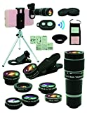 Handy Kamera Objektiv Set, 11 in 1, Universelles 20 Fach Zoom Teleobjektiv, 0,63Weitwinkel,Makro,Fischauge, 2x Telefoto,Kaleidoskop,CPL/Starlight/Eyemask/Stativ/Fernauslöser, For Meisten Smartphones