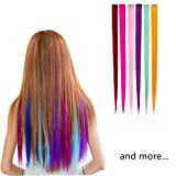 SwirlColor Highlight Hair Extensions Multi-Colors Party Highlight Clip on in Hair Salon Supply Straight Wigs For Women 55 cm/ 21inch -12 Pcs