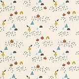 Fabulous Fabrics Baumwollstoff Cretonne Äpfel und Birnen – wollweiss — Meterware ab 0,5m — Oeko-Tex Standard 100 — zum Nähen von Kinderartikeln, Babydeko und Homeaccessoires