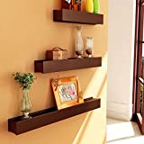 Brown Wooden Wooden Wall Shelf Set Of Th...