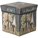 PORTABLE & FOLDABLE LAUNDRY BOX CUM SITTING STOOL Folding Teddy Print Pouffe/sitting stool/stool/pouffes for living room/puffy stool (Grey and Brown) by maa bhagwati