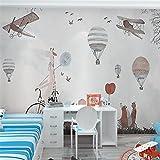 Chan-Mei 3D-große Gemälde des Nordischen kreative Kinderzimmer Hand-Painted Wallpaper Flugzeuge Heißluftballon Tier Hintergrund Tapete 300cmX250cm