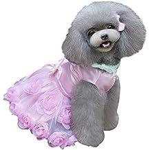 Eizur Cane Rose Partito Vestito Cucciolo Principessa Gonna del Pizzo Bowknot Tutù Maglietta Abito Estivo Vestiti Abbigliamento Camicia Costumi Taglia S - Rosa