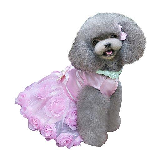 eizur Hunde Kleid Prinzessin rosa Blume Rock aus Spitze Abend Formale Party Tutu Bowknot Welpen Sommer-Kleidung Kostüm Set Apparel Größe S-XXL - Tutu Grande Kostüm